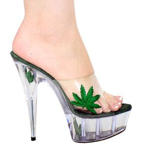 "6"" 7"" OR 8"" Marijuana Leaf Clear Platform Stripper Slide ON Shoes ..."