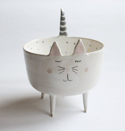 Maurice the Cat  sweet cat bowl with pastel polka by clayopera, $39.00: