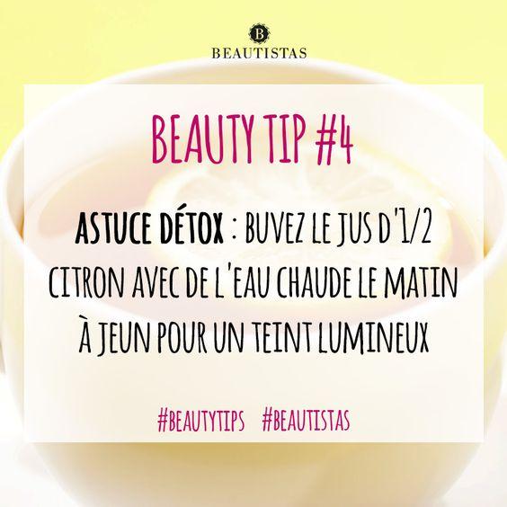 Astuce détox : buvez le jus d'1/2 citron avec de l'eau chaude le matin à jeun pour un teint lumineux #beautytips #astuces #beauté #citron #beautistas