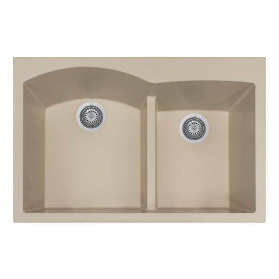 Quartztone Series Drop-In Granite 33 in. Double Bowl Kitchen Sink, Matte