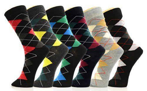 Fashion Mic Mens Cotton Blended Dress Socks 6 Pair Bundle Multiple Styles (10-13, colorful argyle)