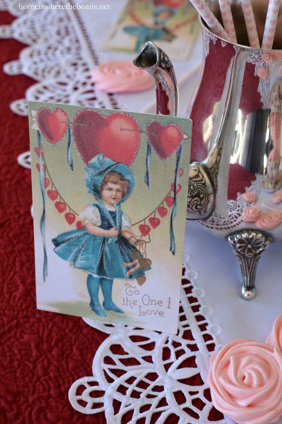Vintage Valentine and Rose Meringue Cookies | homeiswheretheboatis.net #ValentinesDay