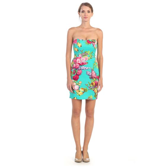 Hadari Women's Strapless Sweetheart Floral Dress | Overstock.com Shopping - Top Rated Casual Dresses