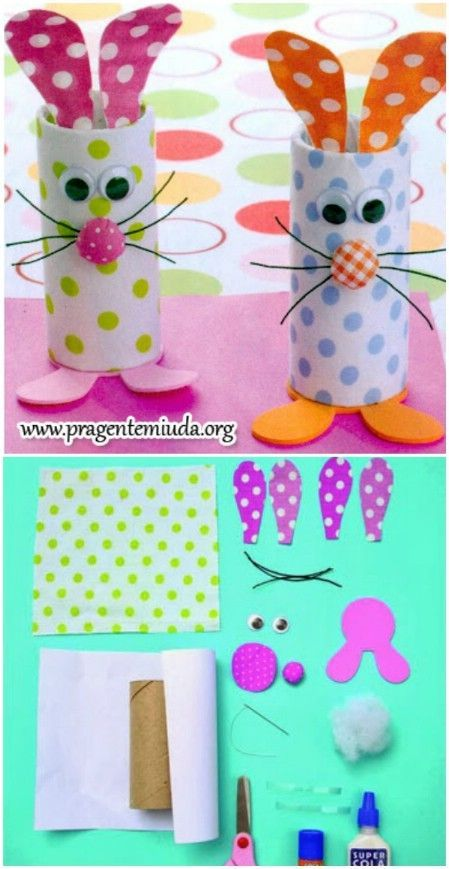 Easy Easter craft for toddlers and little kids: toilet paper roll bunnies: