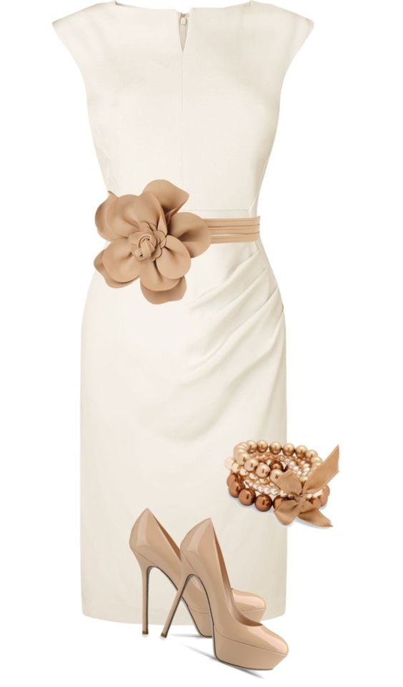 white and beige - classy outfit Breath taking!! I need a tan belt to match my shoes: