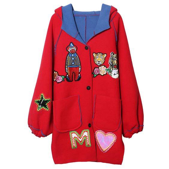 Bythenana Thailand Tide brand new winter silhouette embroidery on both sides wear short coat female loose hooded jacket