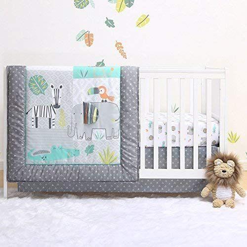 Safari 4 Piece Jungle Animal Theme Baby Crib Bedding Set By Little Haven Review Baby Crib Bedding Sets Baby Crib Bedding Safari Nursery Bedding