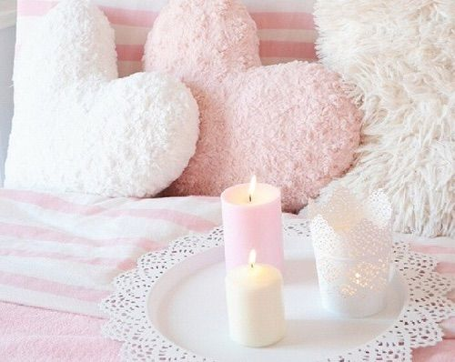 Image via We Heart It https://weheartit.com/entry/149446974/via/33365748 #beautiful #candlelight #candles #cozy #fuzzy #girly #hearts #home #ikea #light #love #luxurious #luxury #pillows #pink #room #tablet #white #winter