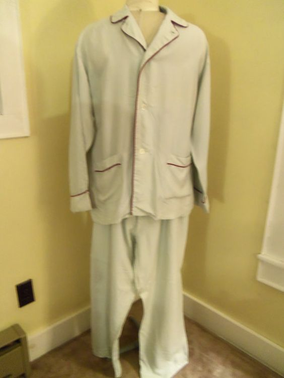 Vintage Mens Silk Pajamas Two Piece Top and Pants by berryetsy ...