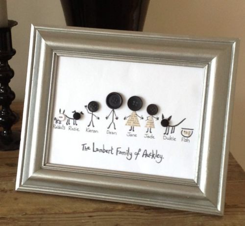 Hand Drawn Personalised Button Family Modern A4 Picture Black On White Card New in Home, Furniture & DIY, Home Decor, Wall Hangings | eBay