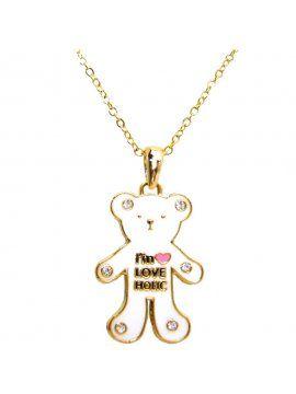 Colar Curto Dourado Urso Polar Dourado com Strass- Colares Curtos Sweet Lucy