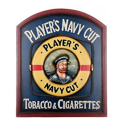 Vintage Wood Player's Navy Cut Tobacco & Cigarettes Advertising Sign