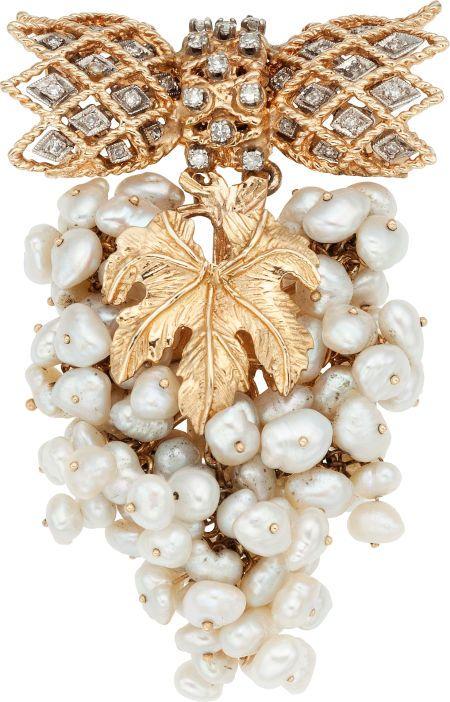 Brooches - Pins, Freshwater Cultured Pearl, Diamond, Gold Brooch. #TuscanyAgriturismoGiratola