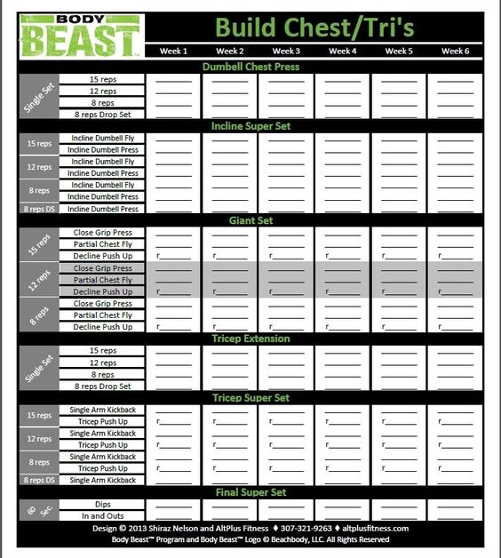 The new and improved Body Beast workout sheets track your progress - workout program sheet