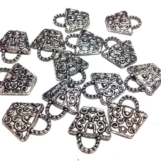 12 Basket Charms Antique Tibetan Silver by TheJewelleryMaker1, £1.49
