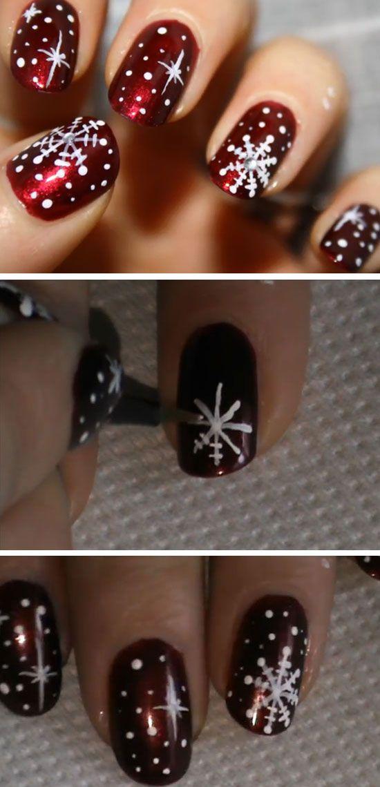 Christmas Snowflakes | 20+ DIY Christmas Nail Art Ideas for Short Nails: