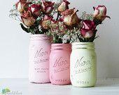 Painted Mason Jars - pinks