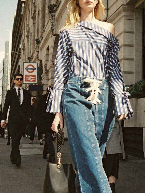 Top Shop  blue jeans : tie up front