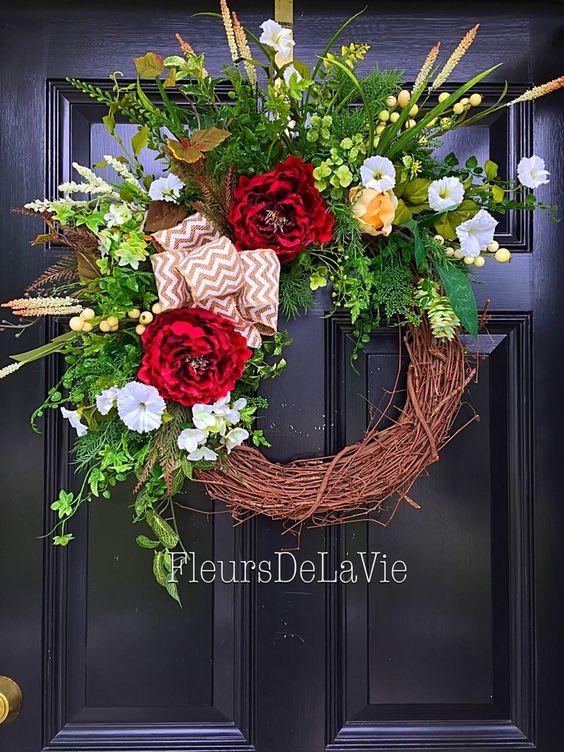 A personal favorite from my Etsy shop https://www.etsy.com/listing/218495473/summer-door-wreath-front-door-weath