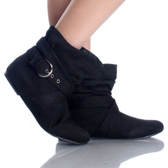 Black Suede Buckle Slouch Bootie | Casual Dress Flat Womens Ankle ...