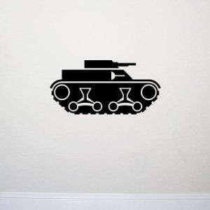 TANK Wall Decal Sticker Boy Army Room Decor Home | Color: Midnight Black
