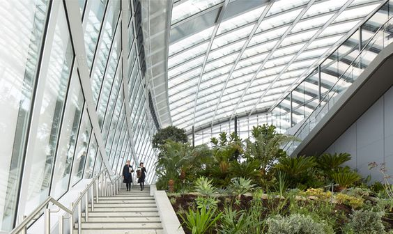 Landscaped public gardens, free to visit, at the top of the Walkie-Talkie.