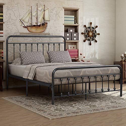 Elegantvictorian Vintage Style Platform Metal Bed Frame Foundation Wrought Iron Bed Frames Headboard Footboard Bed Frame