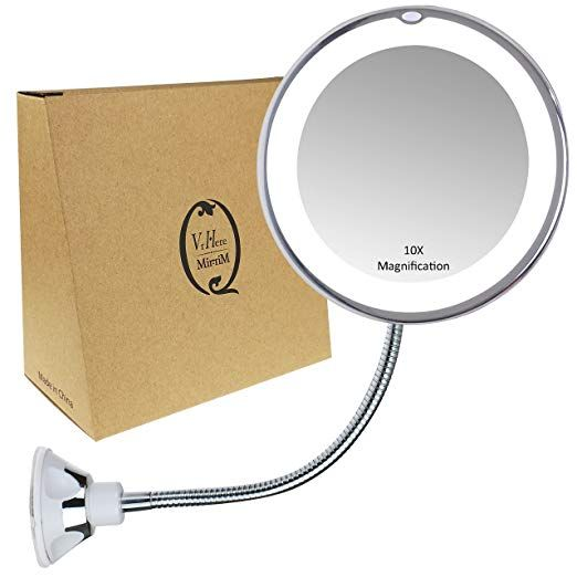 Gooseneck Magnifying Mirror With Light, Suction Magnifying Mirror For Bathroom