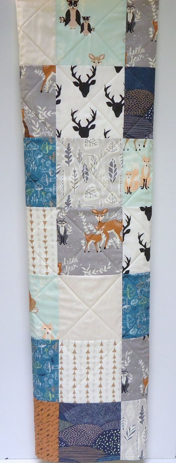 Baby Quilt-Modern Woodland Boy Crib Bedding-Hello Bear-Deer-Fox Baby Blanket-Rustic-Art Gallery Fabrics-Gray-Mint-Teal-Navy-Arrows by NowandThenQuilts on Etsy
