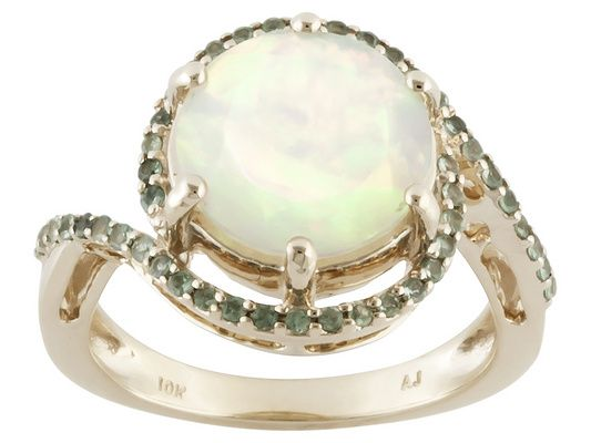 1.96ct Round Ethiopian Opal With .28ctw Round Alexandrite 10k Yellow Gold Ring