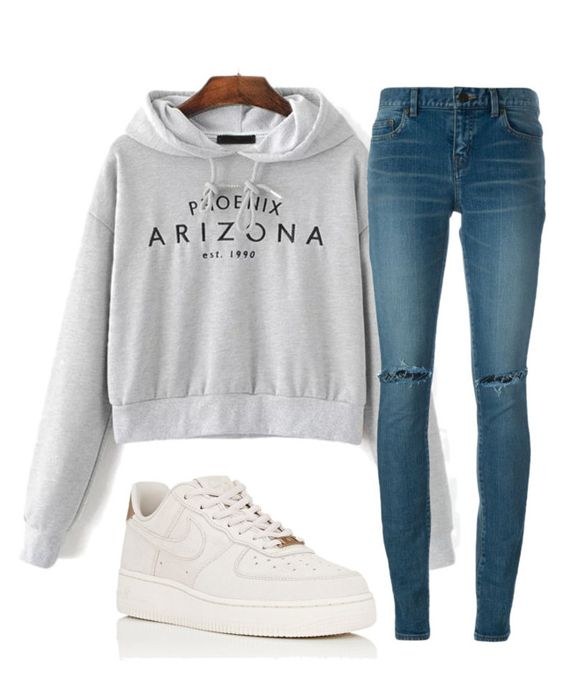 """""""Untitled #842"""" by aaisha123 ❤ liked on Polyvore featuring WithChic, Yves Saint Laurent, NIKE, men's fashion and menswear"""