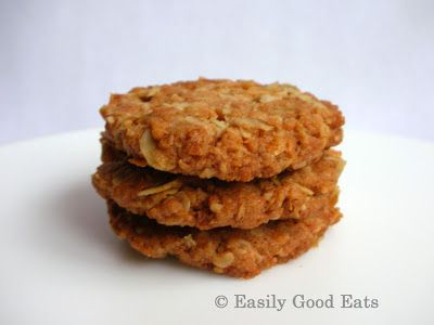 Easily Good Eats: Fresh Ginger Coconut Oat (Ginger ANZAC) Cookies Recipe