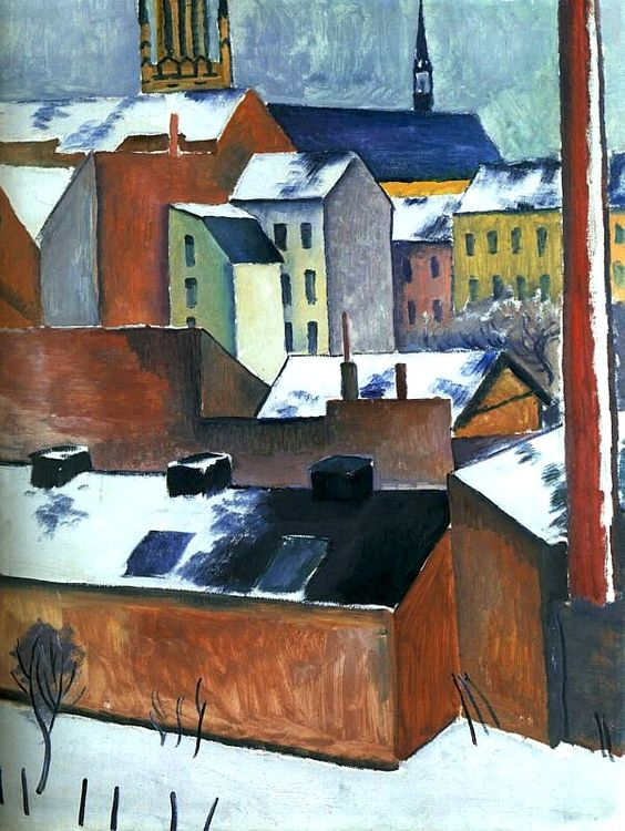 St. Mary's in the Snow,1911 by August Macke. Historical Expressionism