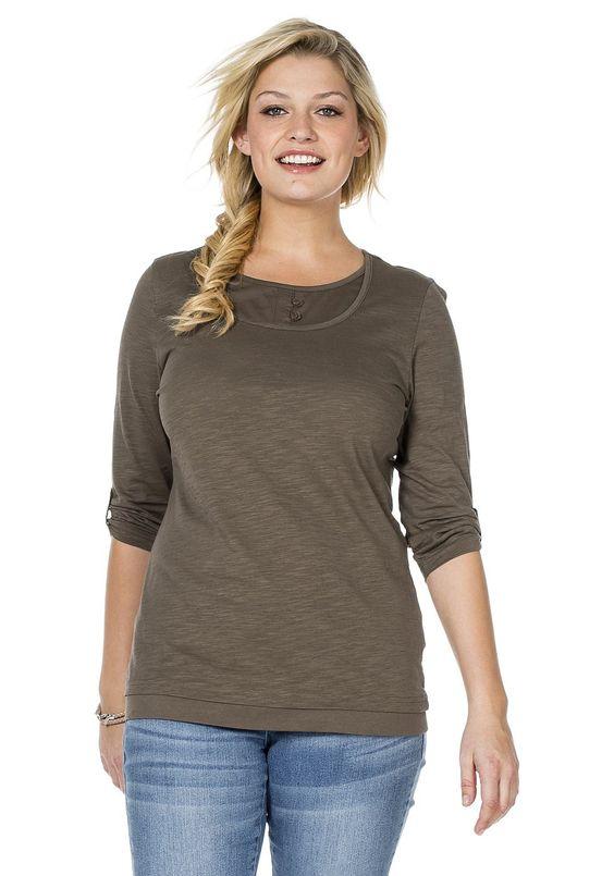 Typ , Shirt, |Material , 100% Baumwolle, |Ausschnitt , rund, |Ärmelstil , ¾-Ärmel, |Optik , Krempel ¾-Ärmel mit Riegel mit fixieren. Strukturierte Jerseyware., |Stil , Freizeitmode, |Passform , Figurumspielend, |Anlass , Everyday, |Gesamtlänge , ca. 70 bis 78 cm, | ...