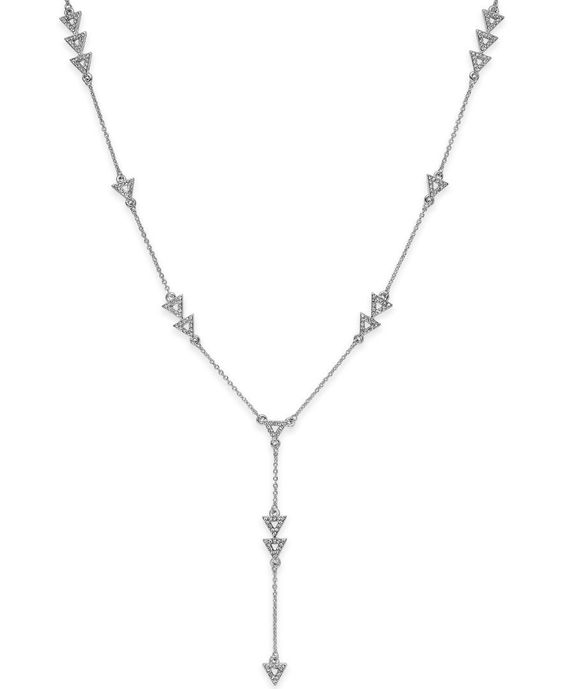 House of Harlow Silver-Tone Pave Triangle Y Necklace