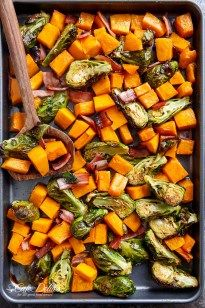 Honey Roasted Butternut Squash & Brussels Sprouts With Crispy Bacon Pieces in a simple 2 ingredient coating for roasting!