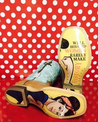 """Tin Haul® Ladies' Sassy Mis B Havin' Boots - brown foot with light turquoise upper and super cool """"obvious"""" soles!"""