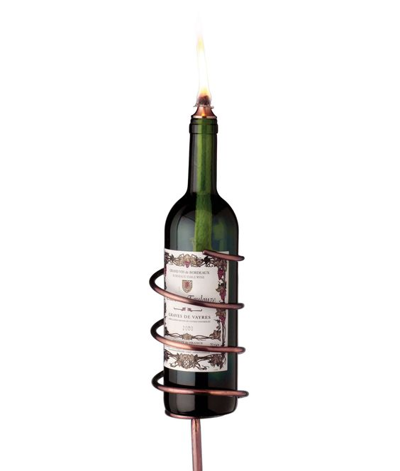 Afterglow garden stake gardens copper and lighting for Wine bottle patio lights