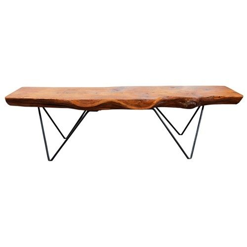 Mid Century Plank Wood and Wrought Iron Table by Bill Hoisington