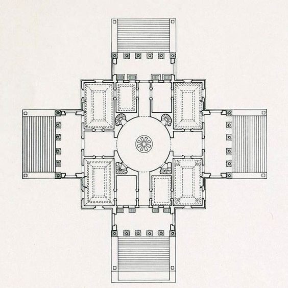 Plan Of Villa La Rotonda Andrea Palladio Palladio Villa Palladio
