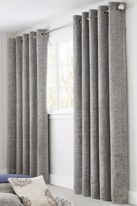 Buy Silver Textured Chenille Eyelet Curtains from the Next UK ...