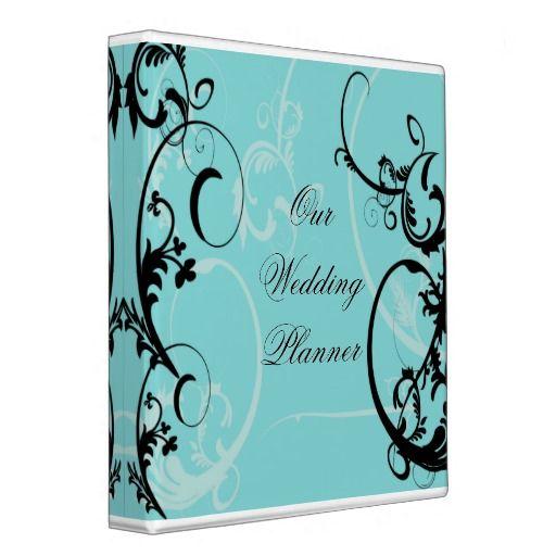Black and Turquoise Florish Wedding Planner Binder