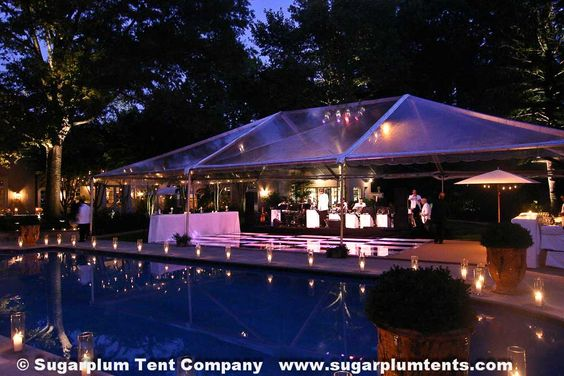 18. DANCE BY THE POOL: Clear tent poolside. Note the black
