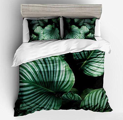 Tookkata 1 Set 3d Green Leaf Bedding Set Comforter Duvet Cover Quilt Cover Pillowcase Design Us Fu Patterned Bedding Sets King Size Duvet Covers Bedding Set
