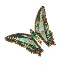 AN EXQUISITE COLOURED DIAMOND AND MULTI-GEM BUTTERFLY CLIP BROOCH, BY WALLACE CHAN