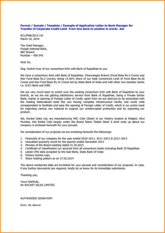 Application Format For Bank Agenda Template Website Letter Sample