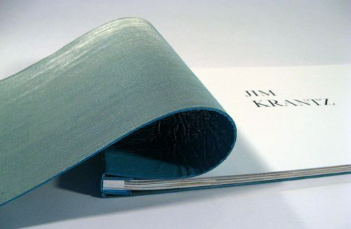 Jim Krantz's soft cover leather portfolio in turquoise by Dweller By The Stream Bindery