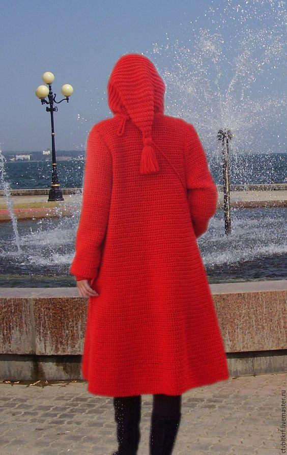 Купить Вязаное пальто «Малахитовый сказ» - авторская работа, тёмно-бирюзовый, пальто крючком