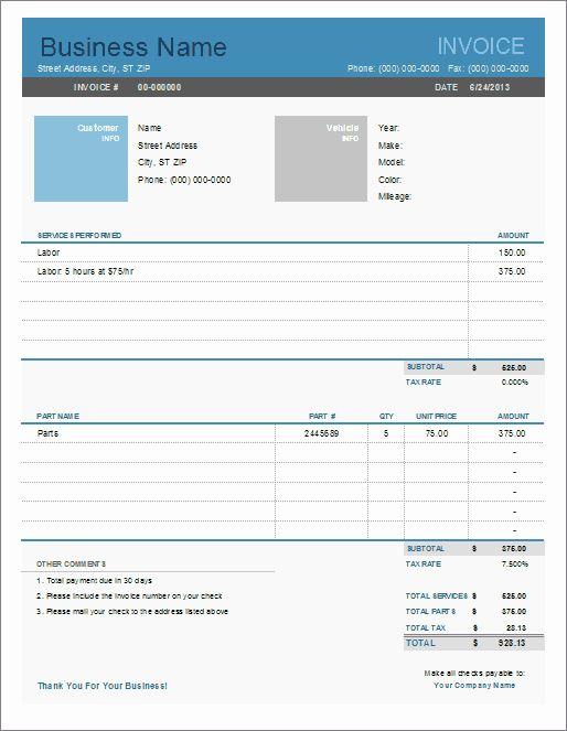 Auto Repair Checklist Template Luxury Auto Repair Invoice Template For Excel Invoice Template Word Invoice Template Auto Repair Shop