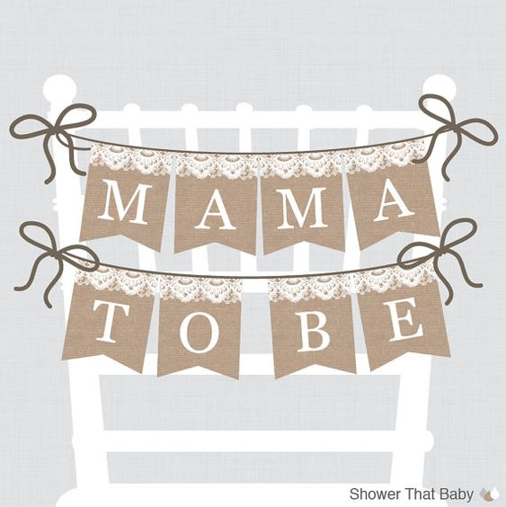 Burlap And Lace Baby Shower Chair Banner Printable Mama To